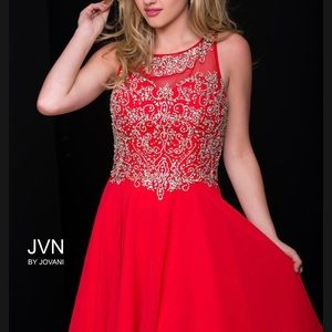 Red Jovani homecoming holiday cocktail dress